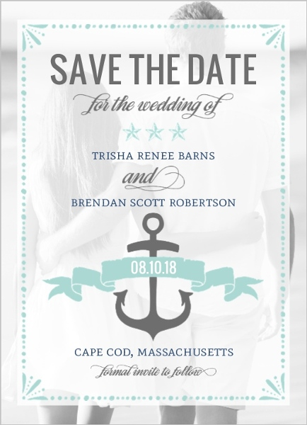 mint pastel nautical save the date announcement