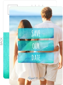 Ombre Ocean Watercolor Destination Save The Date Postcard