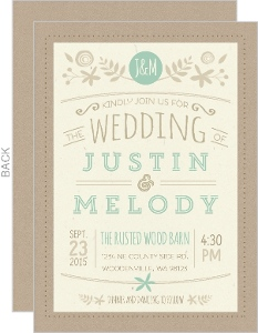 Nature Mint Kraft Wedding Invitation
