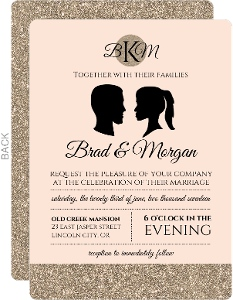 Vintage Silhouette Wedding Invitation