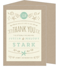 Nature Mint Kraft Trifold Wedding Thank You Card