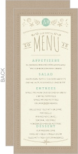 Nature Mint Kraft Wedding Menu