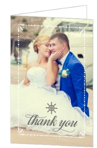 Mint Pastel Nautical Beach Wedding Thank You Card