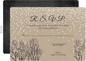 Rustic Winter Snow Wedding Response Card