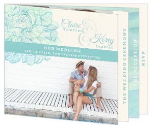 Elegant Watercolor Blooms Booklet Wedding Invitation