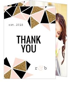 Geometric Glitter Heart Wedding Thank You Card