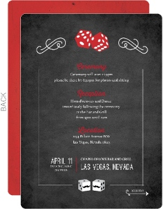 Rustic Dice Las Vegas Wedding Reception Card