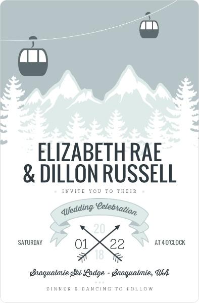 Scenic Winter Mountain Wedding Invitation Wedding Invitations