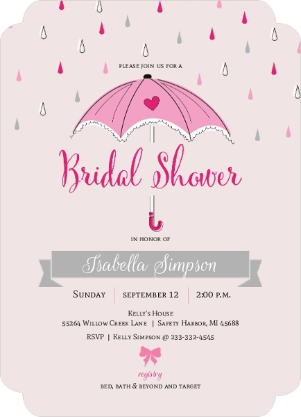 cute pink umbrella bridal shower invitation