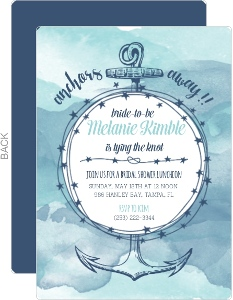 Anchors Away Watercolor Bridal Shower Invitation