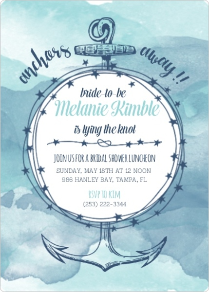 Anchors Away Watercolor Bridal Shower Invitation Bridal Shower