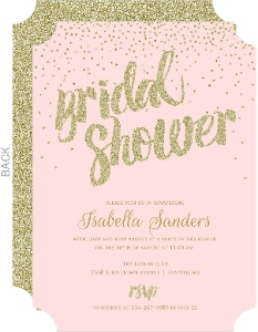 Gold Glitter Confetti Bridal Shower Ivitation