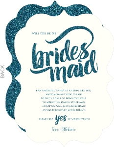 Teal Glitter Will You Be My Bridesmaid Card