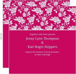 Pink and White Delicate Roses Wedding Invitation