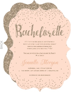 Champagne Peach & Gold Bachelorette Party Invitation