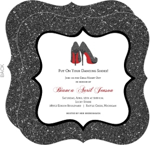 Black Glitter Dancing Shoes Bachelorette Party Invitation