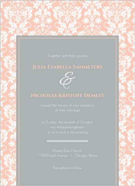 Peach and Grey Damask Wedding Invitation Wedding Invitations