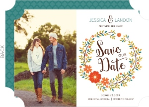 Colorful Hues Fall Wreath Save The Date Announcement