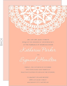 Old Fashioned Style Pink With White Lace Wedding Invitation