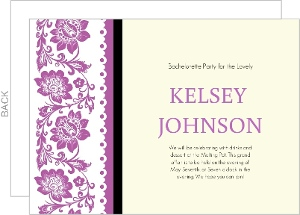 Purple Flowers And Lace Bachelorette Party Invitation