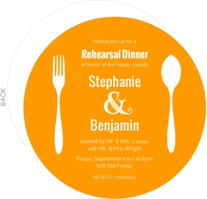 Orange And White Contemporary (Set) Rehearsal Dinner Invitation