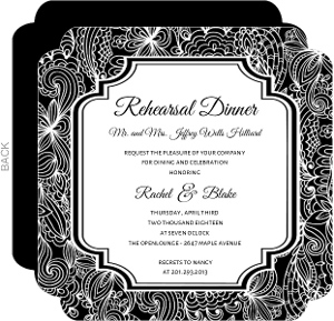 Black And White Lace Rehearsal Dinner Invitation