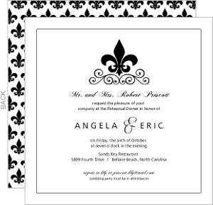 Black And White Fleur De Lis Rehearsal Dinner Invite