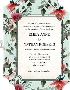 Vintage Mint Botanical Pocketfold Wedding Invitation Wedding