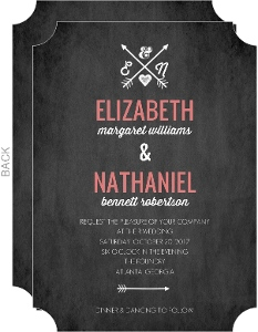 Simple Chalkboard Monogram Wedding Invitation