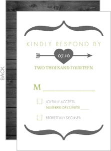Modern Rustic Gray and White Tree Response Card