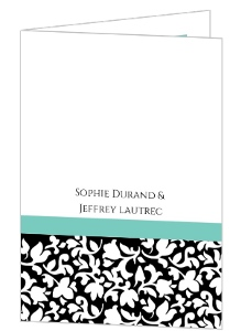Elegant Black White and Aqua Wedding Program