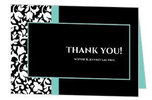 Elegant Black White and Aqua Thank You Card