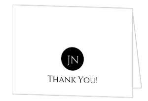 Black and White Monogram Thank You Card