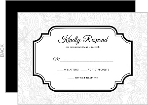 Black and White Lace Response Card
