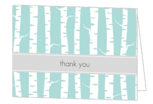 Blue and White Wintry Thank You Card