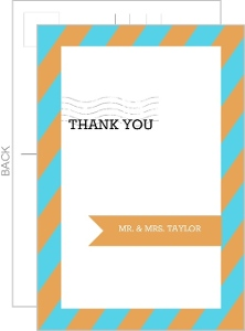 Modern Orange and Aqua Stripes Thank You Card
