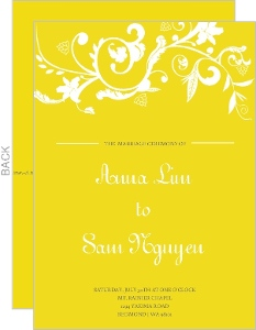 Bright Yellow with White Wedding Program