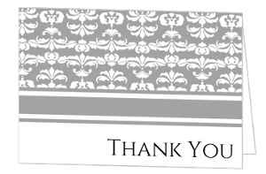 Gray and White Striped Thank You Card