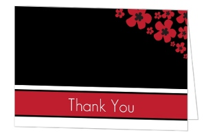 Black White and Red Cherry Blossom Thank You Card
