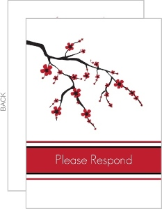 Black White and Red Cherry Blossom Response Card