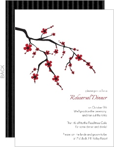 Black White and Red Cherry Blossom Rehearsal Dinner