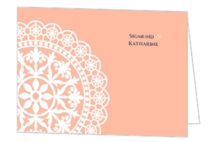 Old Fashion Style Pink with White Lace Thank You Card
