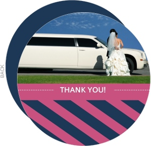Pink and Navy Striped Thank You Card