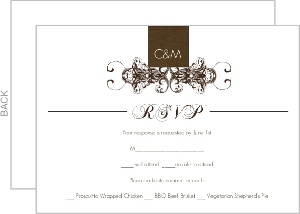 Elegant Textured Brown Response Card