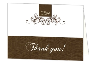 Elegant Textured Brown Thank You Card