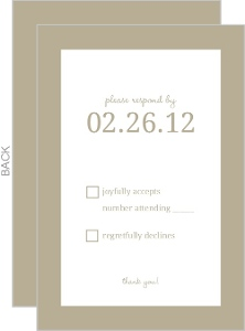 Simple Taupe and Delicate White Flowers Response Card