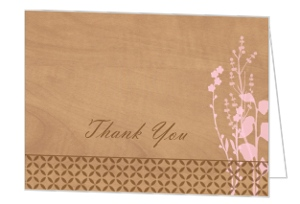 Rustic Woodgrain Floral Thank You Card