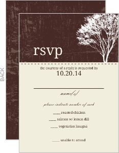 Rustic Country Love Brown and White Tree Response Card