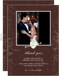 Rustic Country Love Brown and White Tree Thank You Card