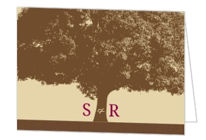 Brown and Merlot Country Tree Thank You Card